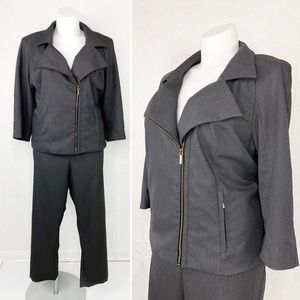 💜Lane Bryant Zip 3/4 Sleeve Crop Pant Suit Set